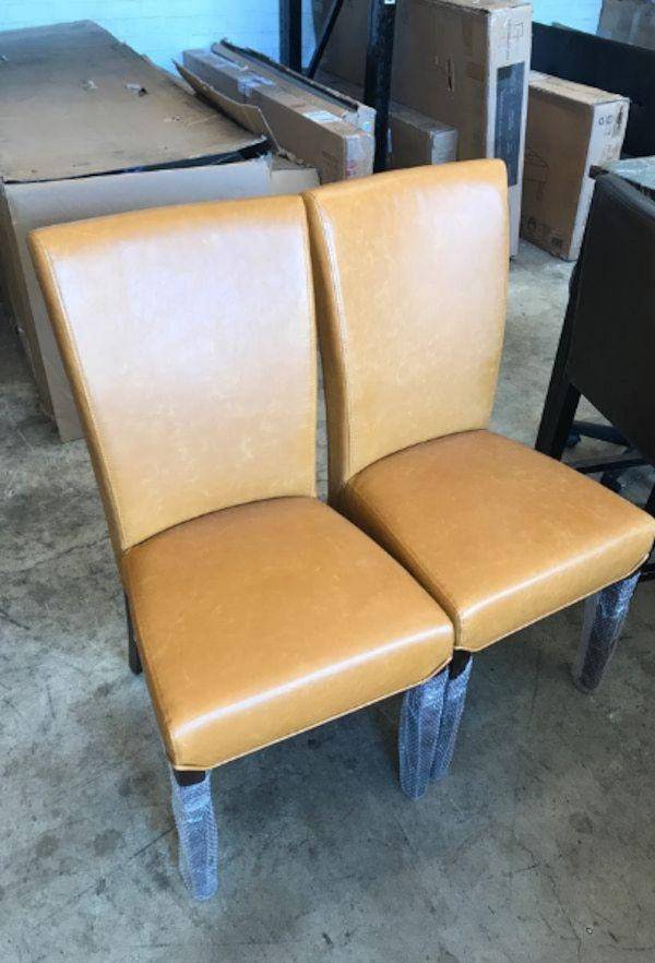 Astonishing Milton Bonded Leather Dining Accent Chair Set Of 2 Orange Faux Leather Inzonedesignstudio Interior Chair Design Inzonedesignstudiocom