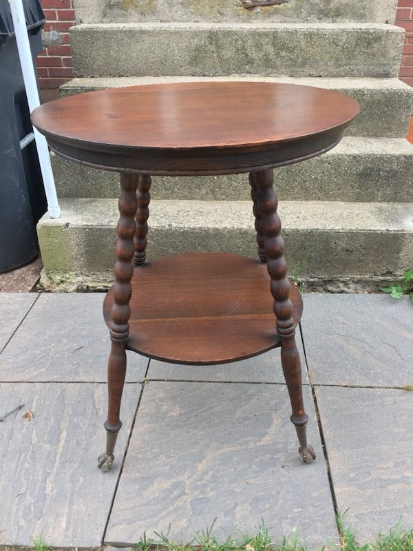 Antique Oak Round Table With Metal