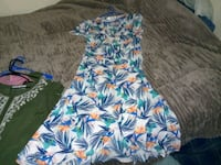 white, blue, and pink floral sleeveless dress 2056 mi