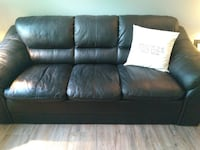 Black leather couch.  Cat has scratched left side.  Pillow not included.  We never use this couch....beside our cat sleeps on left side. QUALICUMBEACH