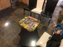 Leather seat, Glass, Stained wood Dining Table Set