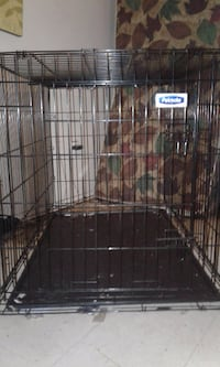 black Petmate metal folding dog crate
