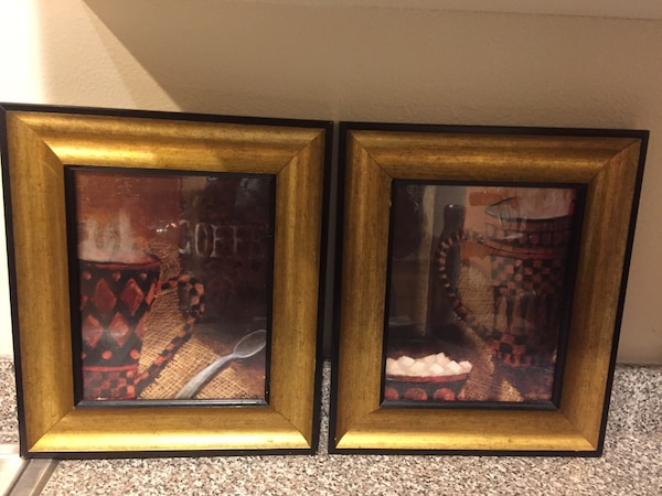 Two brown/bronze framed paintings