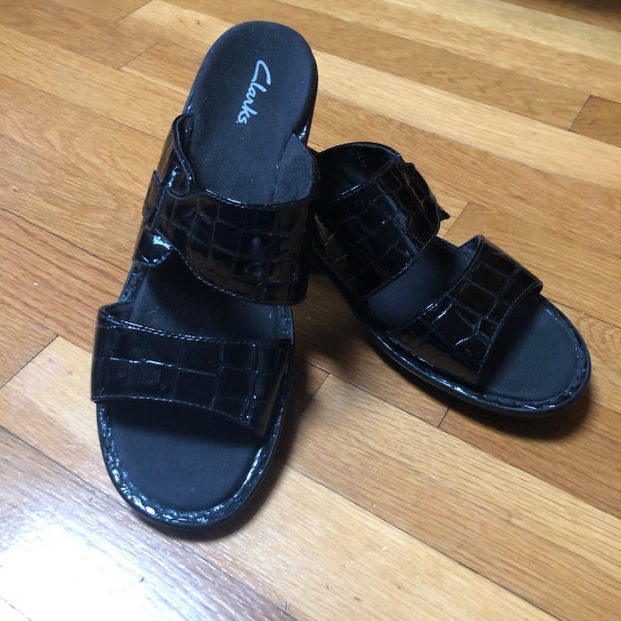 New Clarks patent leather slides