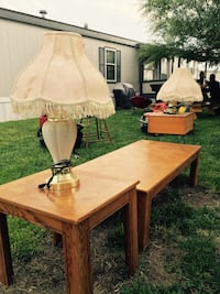 Two beige wooden table and lampshades Garden City, 67846