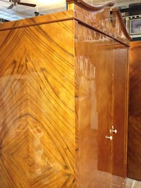 French Tiger Wood Antique Rare Armoire Wardrobe Closet, Firm Price