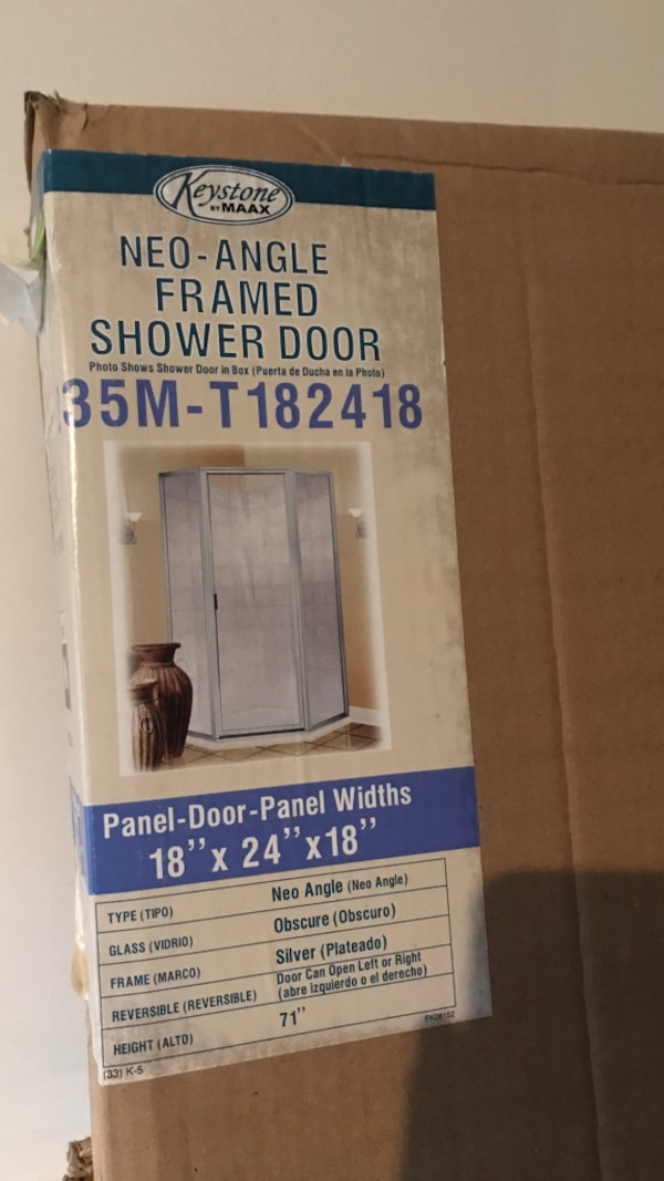 Used Keystone by maax neo-angle framed shower door box for sale in ...
