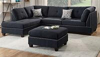 Black sectional couch with ottoman Waldorf, 20602