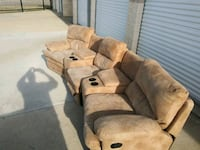 Brown Suede 3 Seater Recliner Irving