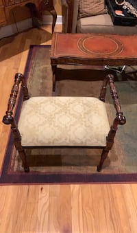 Vintage Upholstered Bench Seat with Arms