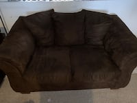 Brown suede couch and love seat 61 km