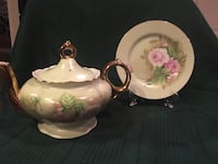 White, pink, and green floral ceramic teapot and plate Winchester, 22656