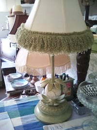 white and brown table lamp ABBEVILLE