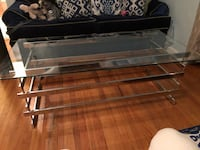 Chrome coffee table w glass top