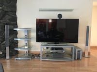 Omnimount Stellar G343 Silver TV Stand  with with 10mm thick tempered glass