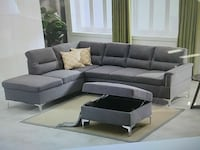 gray leather sectional couch with ottoman