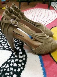 pair of brown leather open-toe heeled sandals Edmonton, T5A 2A9