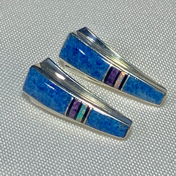 Genuine Navajo Mosaic Sterling Silver Lapis Opal Sugilite Earnings 1