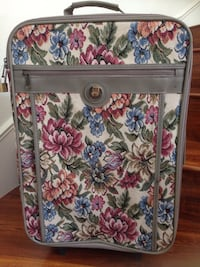white, pink, and blue floral tote bag