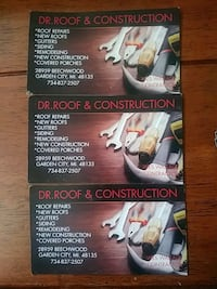 * DR ROOF & CONSTRUCTION *          * ROOF REPAIRS * CHIMNEYS * DECK *