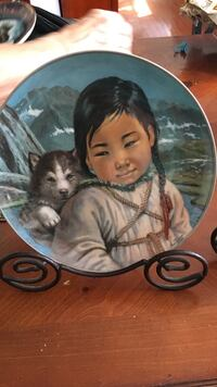 Siberian husky puppy at the back of girl smiling ceramic decorative plate Shillington, 19607