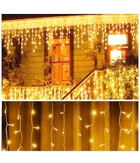 new! Warm White 10 Ft 96 Led Window Curtain Icicle String Lights