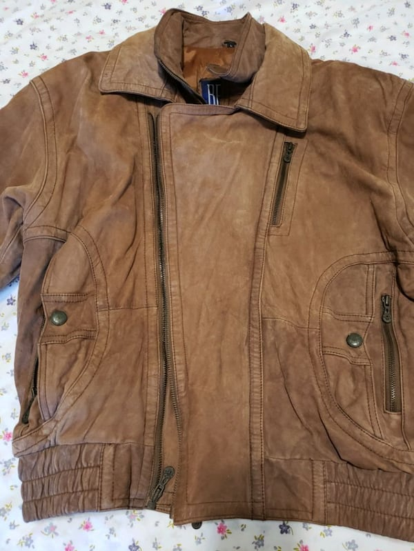 Men's Brown Leather Jacket (Beyond) double-breaste e181b0a9-f6b0-4a48-bf18-99451ceb2acf