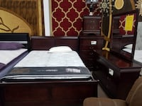 Cherry black white gray champagne queen size 5pc complete bedroom set 47 km