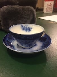 tea cup and saucer blue and white Ballston Lake, 12019