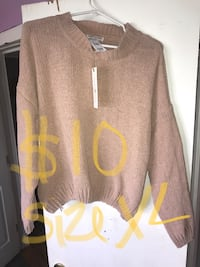 women's brown sweater with text overlay Hobbs, 88240