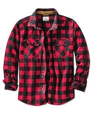 Black and red gingham chemise de chasse button-up sport shirt plaid flèche shirt