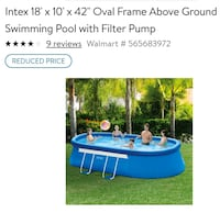 """Intex 18' x 10' x 42"""" Oval Frame Easy Set Above Gr Canal Winchester, 43110"""