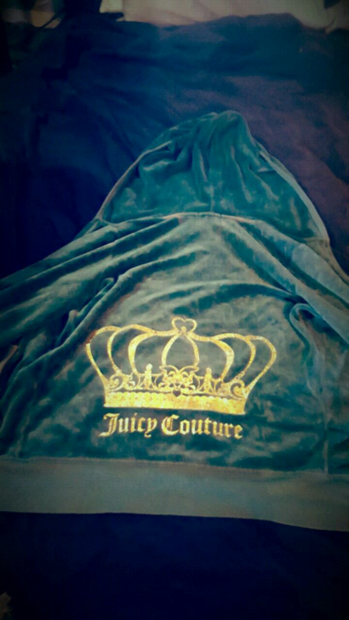 Photo Size S Couture velvet green track jacket with rhinestone crown!