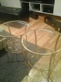 Set of Ikea side tables in gold with glass top Montréal, H8Y