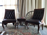 2 High End Leather Tufted Arm Chairs Evergreen, 80439