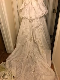 white floral floor-length gown