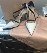 Prada White high heels, black straps
