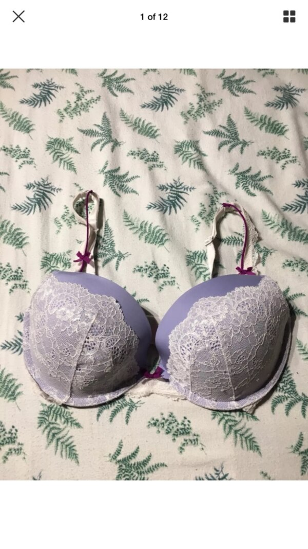 515cf23c5 Used Victoria s Secret Purple W  White Lace Dream Angels Push Up Bra SIZE  34DD for sale in London