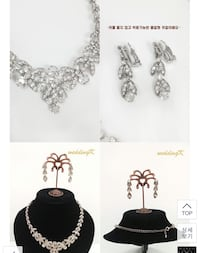 silver diamond earrings with necklace 3176 km