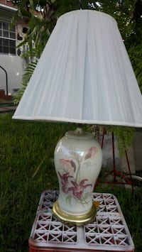 white and pink floral ceramic base table lamp Miami, 33145