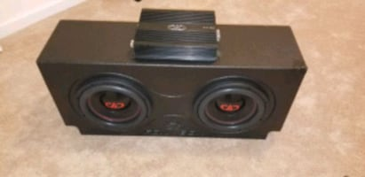 """Dual 10"""" Subwoofer Box & Amp System for Car"""