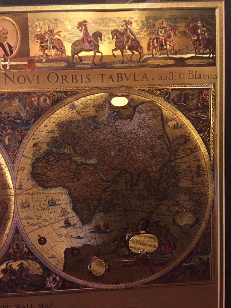 Used framed gold foil blaeu wall map of old and new world in las vegas gumiabroncs Images