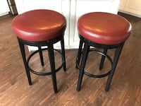 Two brown leather padded bar stools Purcellville, 20132