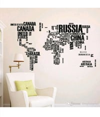 BRAND NEW Modern World Map Wall Sticker With Country Name