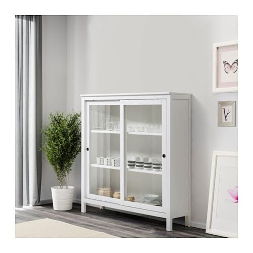 HEMNES Glass-door cabinet, white stain