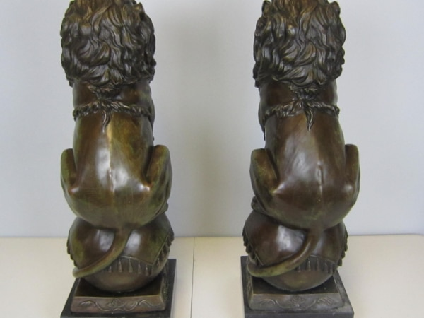 Lion Jungle King Bronze Statue on Marble Base Sculpture (25X8 Inches) 249cb021-b78a-4cb4-a656-64bad490a4c8