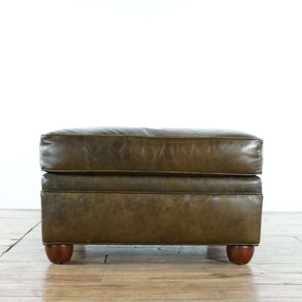Amazing Pottery Barn Chesterfield Brown Leather Upholstered Ottoman 1020405 Caraccident5 Cool Chair Designs And Ideas Caraccident5Info