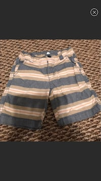 gray and beige striped shorts