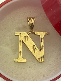 New gold plated letter n pendant charm