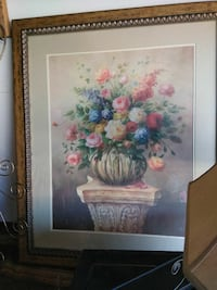 pink and blue floral flowers painting